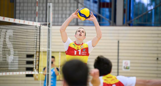 Tobias Hosch (SSC).  GES/ Volleyball/ 2. Bundesliga-Sued: Testspiel:  Baden Volleys SSC Karlsruhe - Hammelburg, 28.07.2021 --