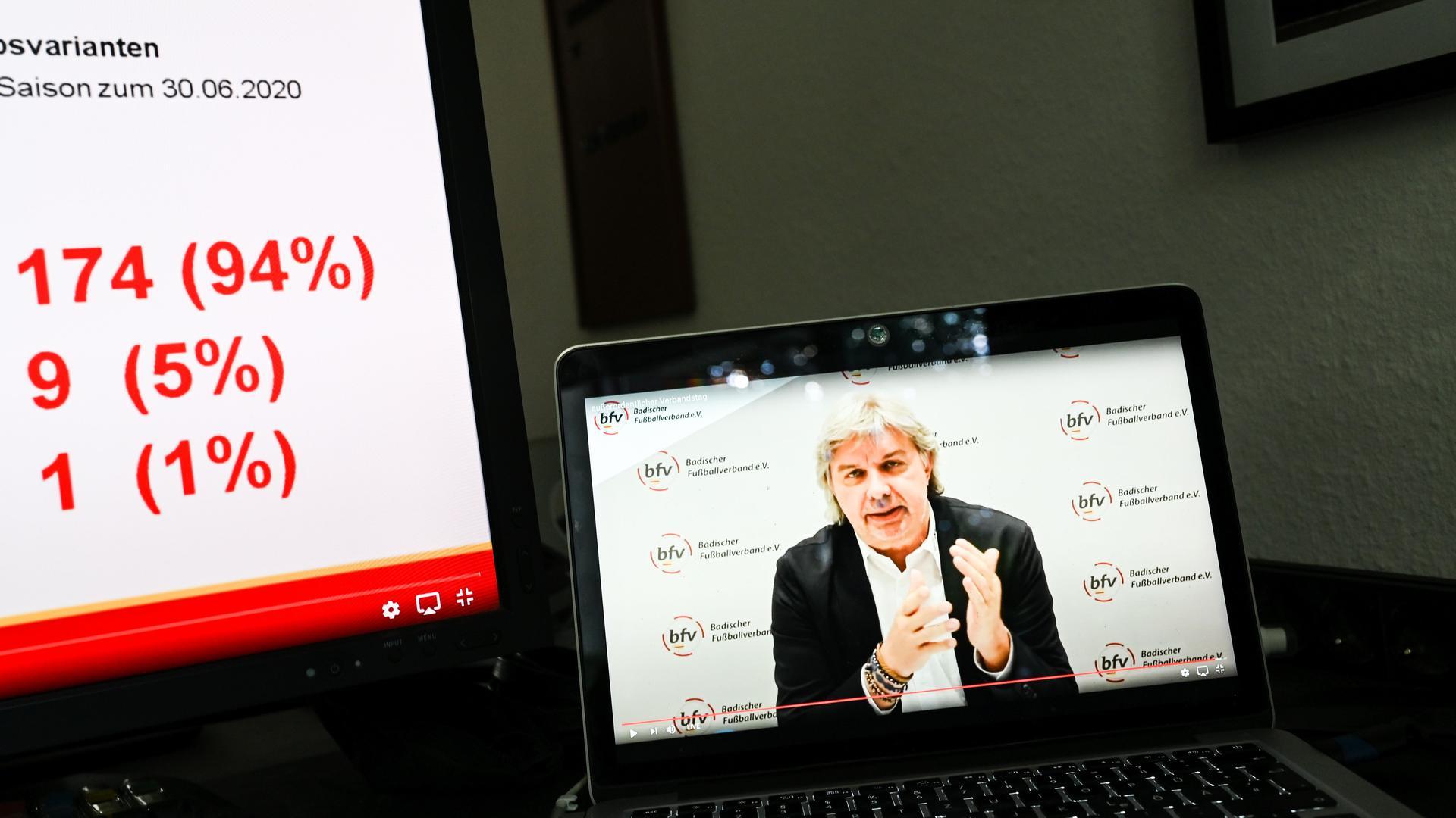Praesident Ronny Zimmermann (BFV) auf einem Bildschirm neben dem Ergebnis zur Beendigung der Saison. GES/ Fussball/ Virtueller Verbandstag Badischer Fussballverband, 20.06.2020