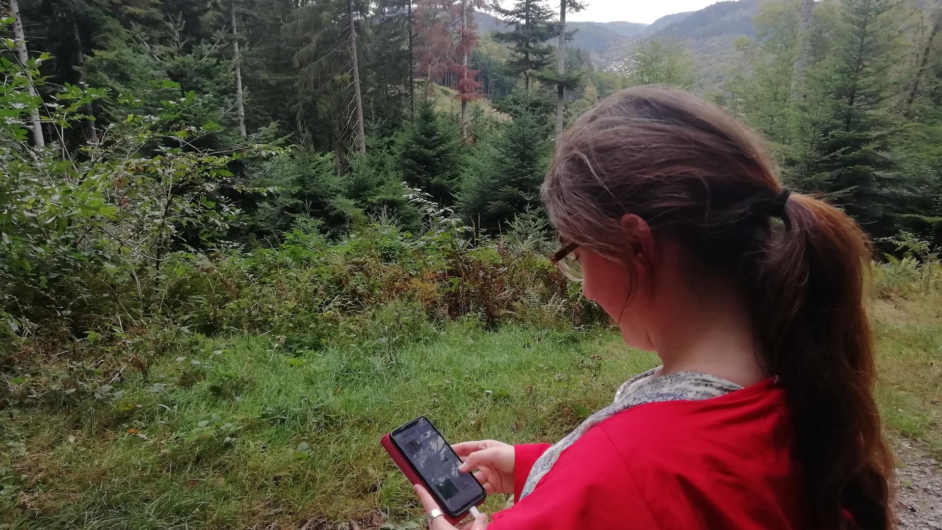Geocacherin mit Handy vor Landschaft.