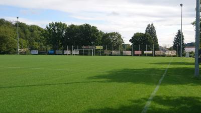 Saftiges Grün: Schön und gerade liegt der neue Sportplatz des TSV Dürrenbüchig da. Das Gefälle beträgt inzwischen weniger als einen Meter und entspricht damit der DIN zur ordentlichen Entwässerung.