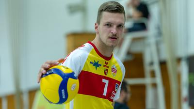 Leon Zimmermann (SSC Karlsruhe) .  GES/ Volleyball/ 2. Bundesliga-Sued: Baden Volleys SSC Karlsruhe - Volleys Leipzig 12.09.2020 --