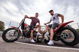 Portrait: Alexander Kleinbichler (Malsch) und Manuel Fitterer (Mörsch) (li).  GES/ Motorsport/ Motoball: 13.08.2020