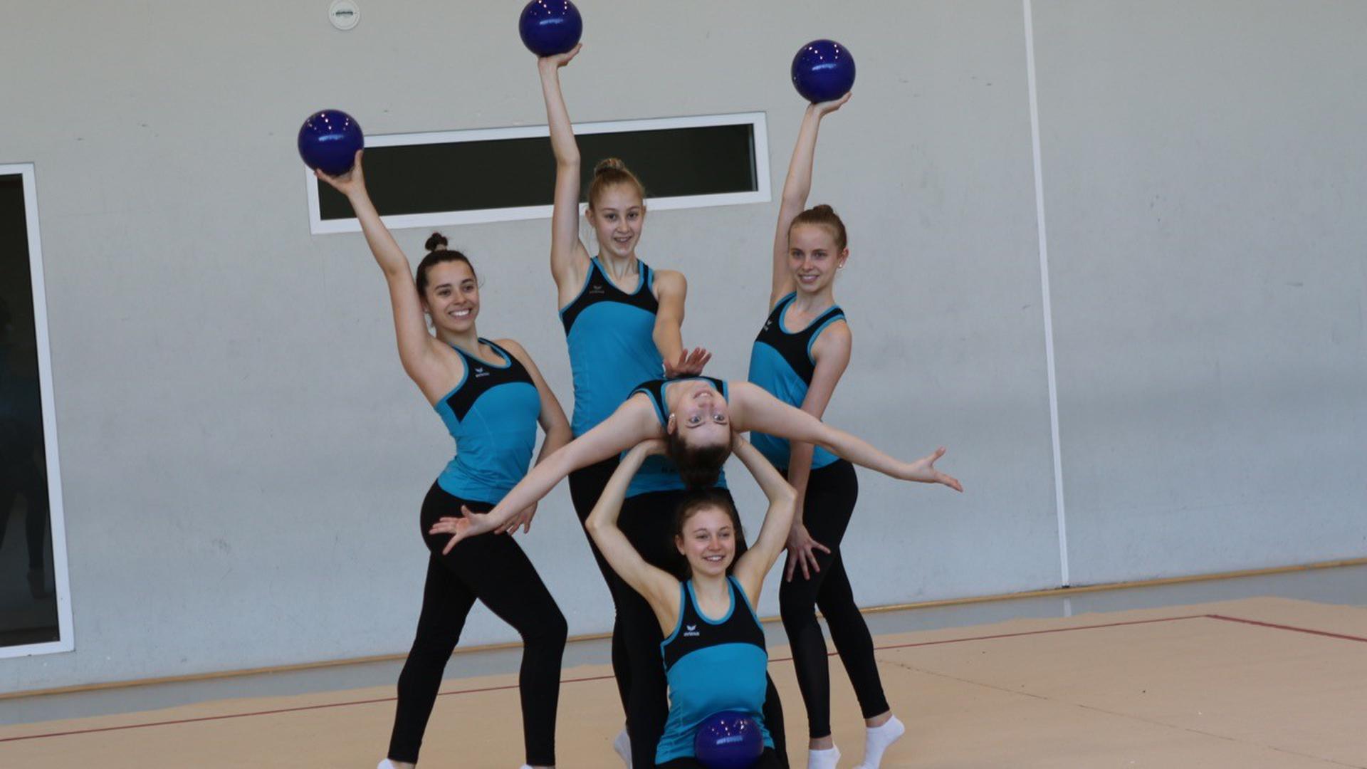 Die Sportgymnastinnen der Wettkampfgemeinschaft SSC Karlsruhe/TV Bretten