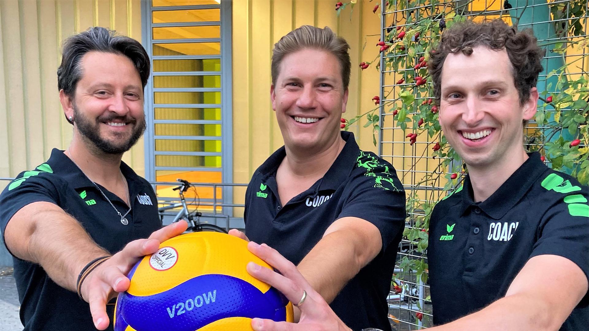 Allessandro Manfrin, Sebastian Kaschub und Simon Kamm, Trainer des SV-KA Beiertheim