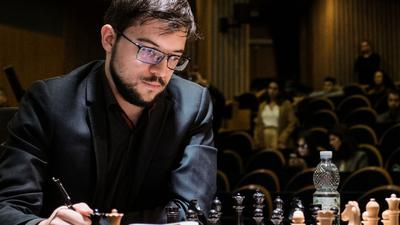 December 11, 2019, Jerusalem, Israel: MAXIME VACHIER LAGRAVE, 30, of France, competes with Topalov of Bulgaria, in Day One, Round One, of the final leg of the World Chess Championship cycle at Jerusalem s Notre Dame Center. Sixteen worldâ