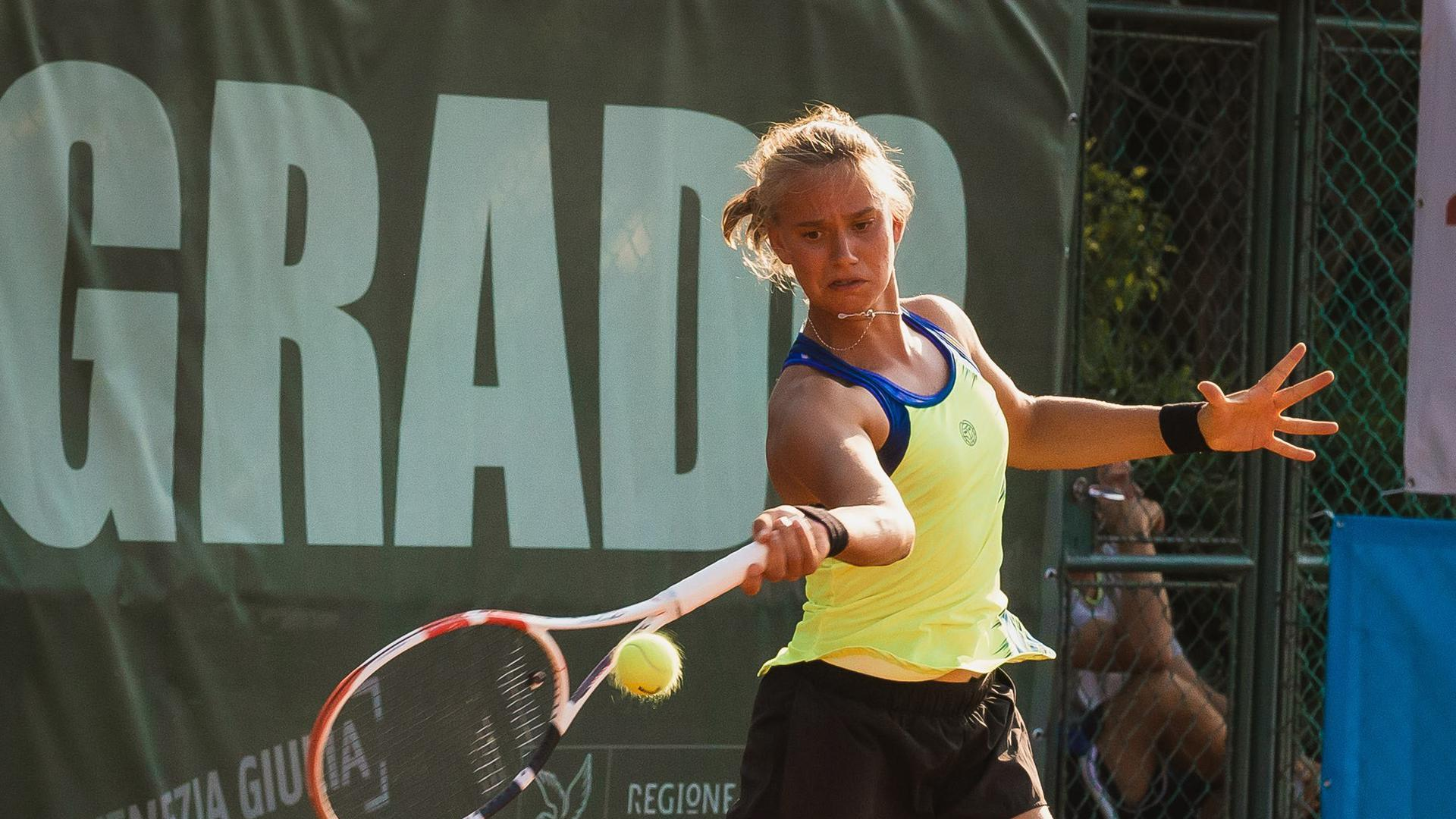Konzentrierter Durchmarsch: Sina Herrmann spielte in Grado erstmals ein Turnier der 25.000-Dollar-Kategorie - und feierte völlig überraschend ihren ersten großen Sieg auf der ITF-Serie.
