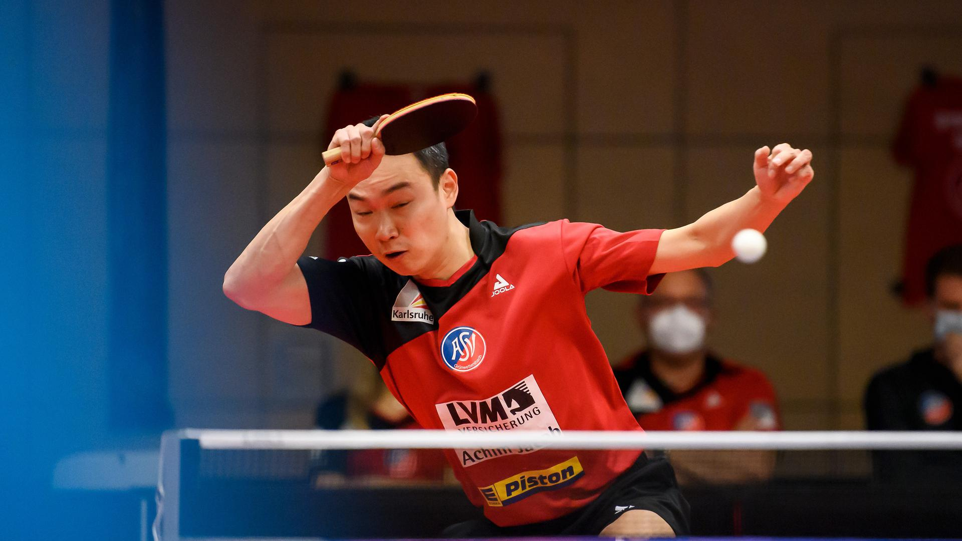Xi Wang (Gruenwettersbach)   GES/ Tischtennis/ 1. Bundesliga Final Four Halbfinale Hinspiel: ASV Gruenwettersbach - Borussia Duesseldorf, 28.03.2021 --