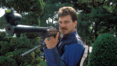 Der Kronauer Schütze Kurt Hillenbrand vor den Olympischen Spielen 1988 in Seoul, die die letzte Großveranstaltung in seiner Karriere waren.