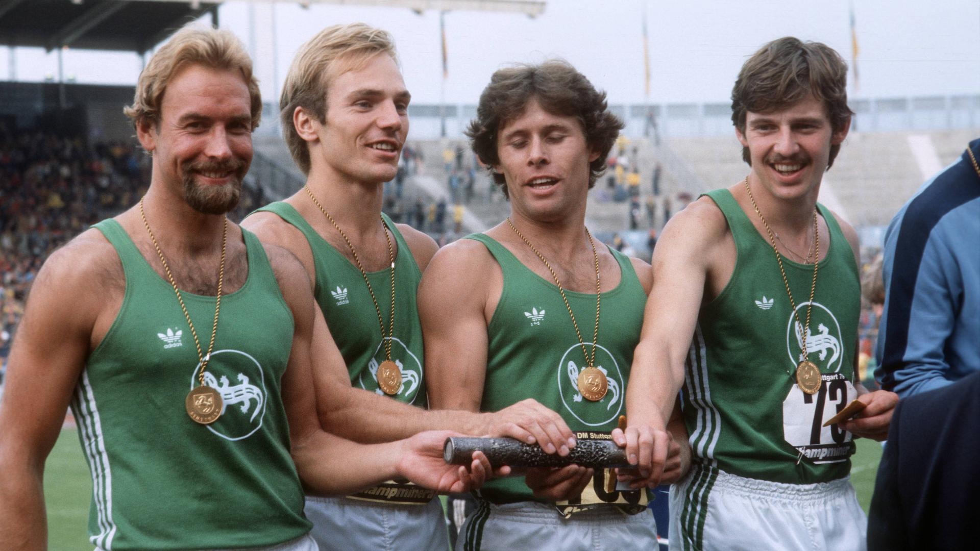 Deutsche Leichtathletik Meisterschaft 1979 in Stuttgart, 4x100m Staffel Meister SV Salamander Kornwestheim (Wolfgang Jäger, Dieter Gebhard, Bruno Werner, Peter Klein)