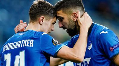 Schossen Hoffenheim zum Heimsieg gegen Belgrad: Christoph Baumgartner (l) und Munas Dabbur.