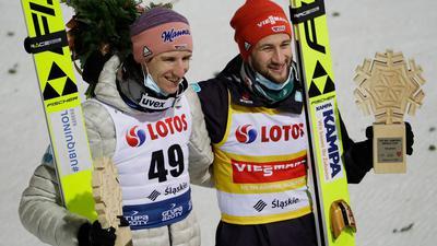 Sprangen in Wisla auf die Plätze eins und zwei: Marcus Eisenbichler (r) und Karl Geiger.