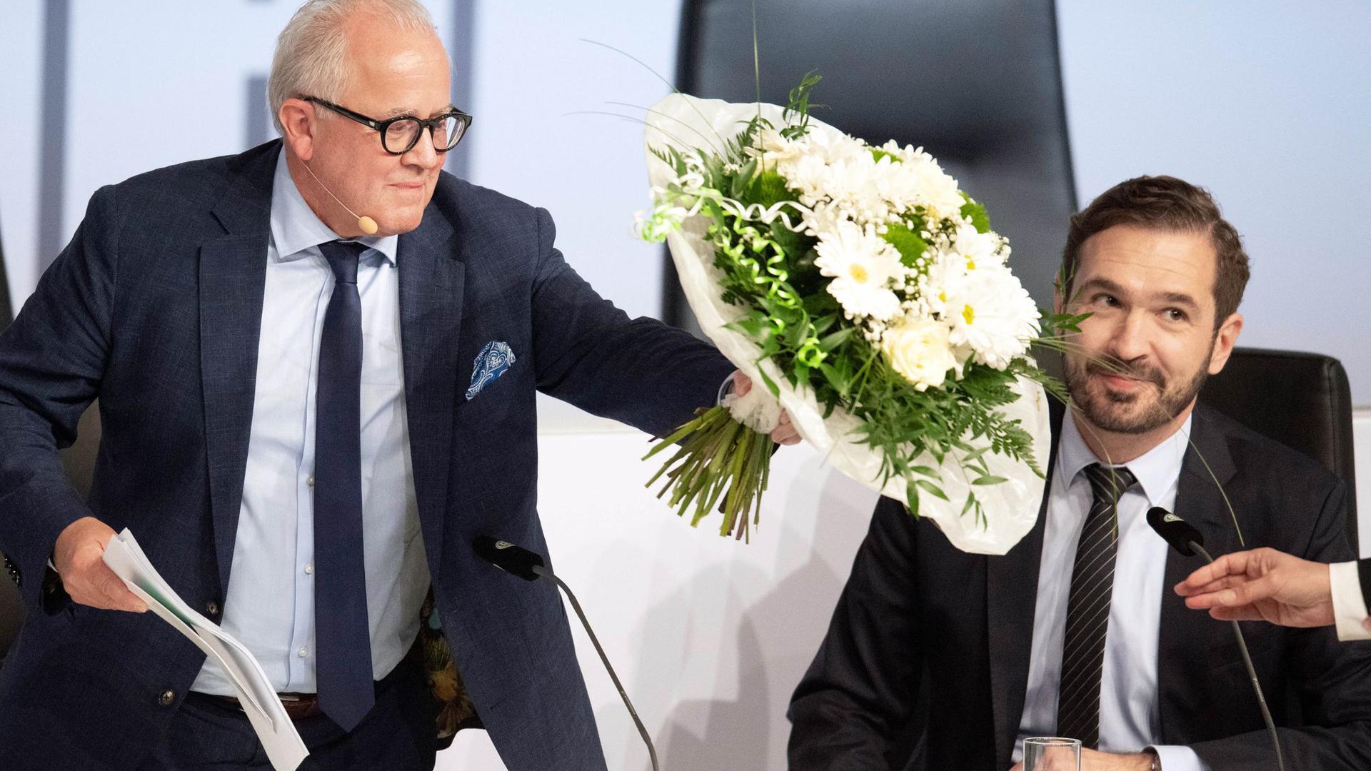 Mächtige Männer beim DFB: Präsident Fritz Keller (l) und Generalsekretär Friedrich Curtius.
