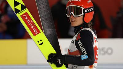 War mit ihrer eigenen Leistung bei der WM-Premiere der Frauen auf der Großschanze unzufrieden: Katharina Althaus.