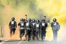 In Dresden kam es zu Ausschreitungen zwischen  Dynamo-Fans und der Polizei.
