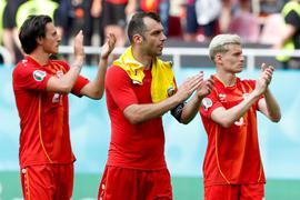 Nordmazedonien um Goran Pandev (M.) schied vorzeitig aus.