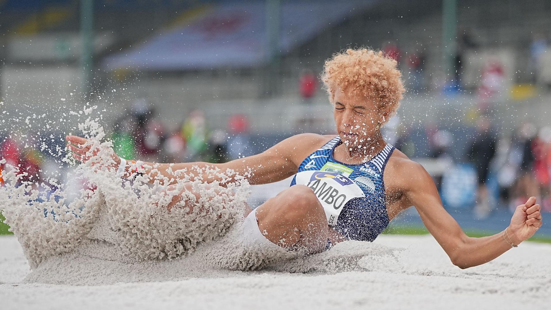 Deutsche Medaillen-Hoffnung für Tokio: Weitspringerin Malaika Mihambo in Aktion.