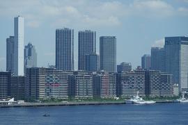 Ein Blick auf die Gebäude vom olympischen Dorf, einer Wohnsiedlung für die Athleten der Sommerspiele in Tokio.