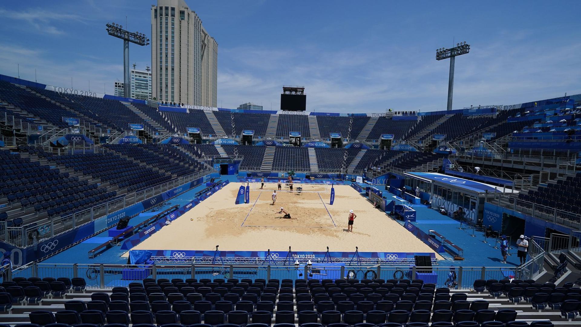 Das Beachvolleyball-Stadion in Tokio.