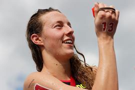 Freiwasserschwimmerin Leonie Beck ist mit ihrem fünften Platz zufrieden.