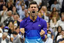 Novak Djokovic im Moment seines Sieges.