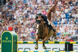 Der deutsche Reiter Marcus Ehning gewann die Prüfung 2018 auf dem Pferd Pret a Tout.