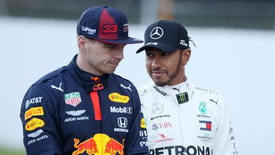 Konkurrenten um den WM-Titel: Max Verstappen (l)und Lewis Hamilton.
